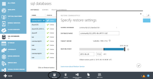 Point in time recovery using Azure dashboard